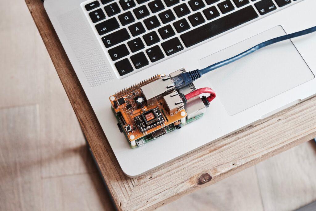Raspberry på liggende på bærbar computer